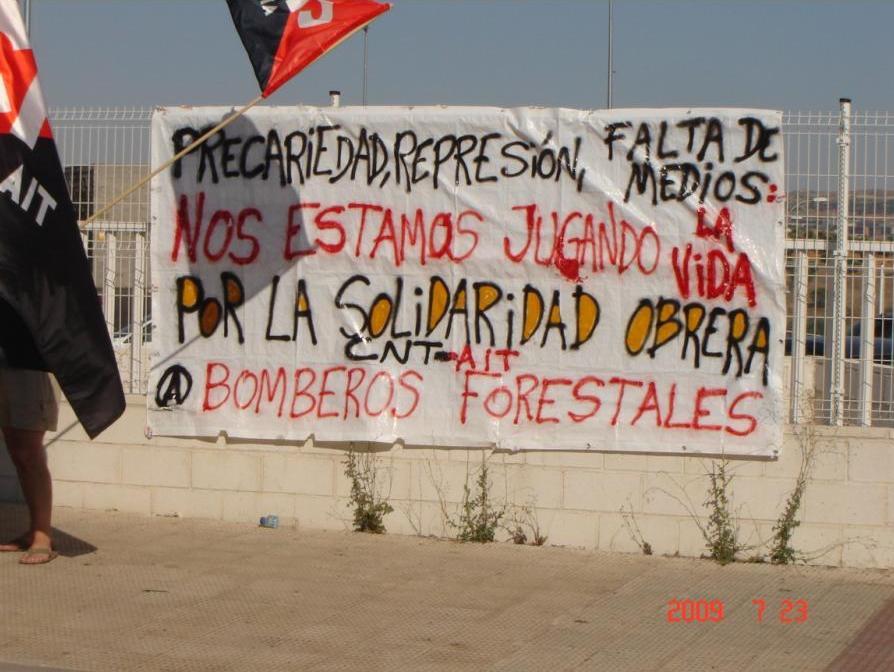 Por la solidaridad obrera. Bomberos Forestales CNT-AIT